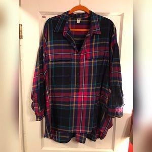 Bright color flannel plaid tunic
